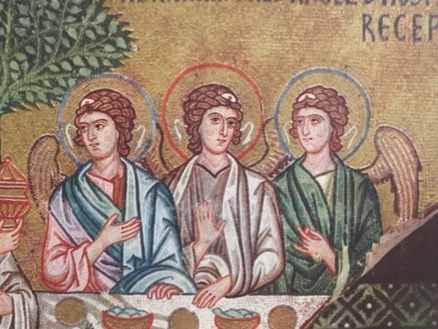 Fig. 27  Cei trei oaspeți-îngeri, mozaic sec. XII, Capela Palatină, Palermo