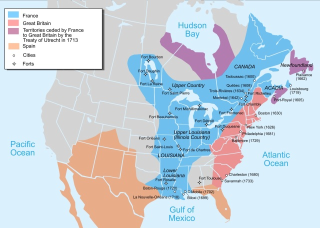 Situația celor trei puteri coloniale, Franța, Anglia și Spania în America de Nord a anului 1750. (Imagine preluată din Wikipedia)